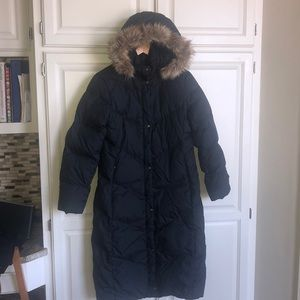 Land's End Black Hooded Goose Down/Feather Coat